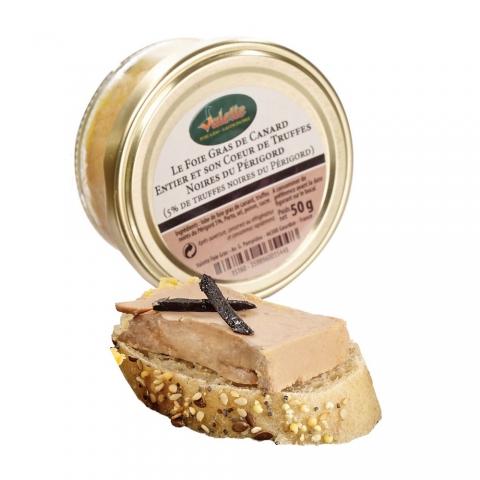 Le Foie Gras de Canard Entier et son Coeur de Truffes Noires du Périgord de 50 g (5% de truffes noires du Périgord)