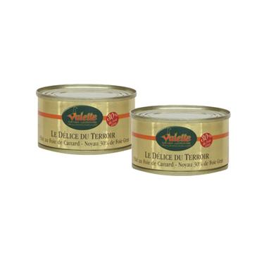 """Le Lot de 2 """" Le Fameux Papitou"""" - Pâtés au Foie de Canard (noyau 30% de bloc de foie gras)"""