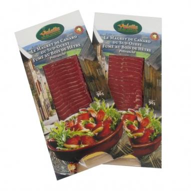 Le Lot de 2 Magrets de Canard Fumés au Bois de Hêtre Prétranché - 2 plaquettes 90 g