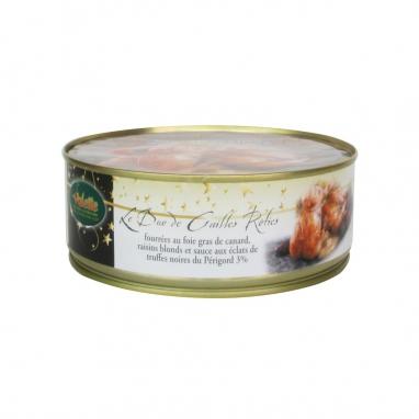 • Duo de Cailles Rôties Fourrées au Foie Gras de Canard, Raisins Blonds et Sauce aux Eclats de Truffes Noires du Périgord 3%
