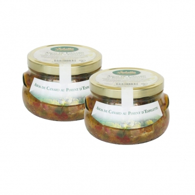 Le Lot de 2 Axoas de Canard au Piment d'Espelette - Les 2 Bocaux de 560 g