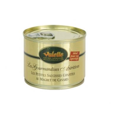 Le Lot de 2 boîtes 200g de Petites Saucisses de Toulouse et de Boudins Blancs au Foie de Canard