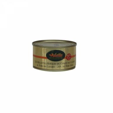 Les Rillettes Royales de Confit de Canard au Foie de Canard (23 % de Bloc de Foie Gras) 130 g