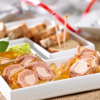 Les Rondos de Jambon Fourrés au Foie de Canard en Gelée (21 % Foie gras)